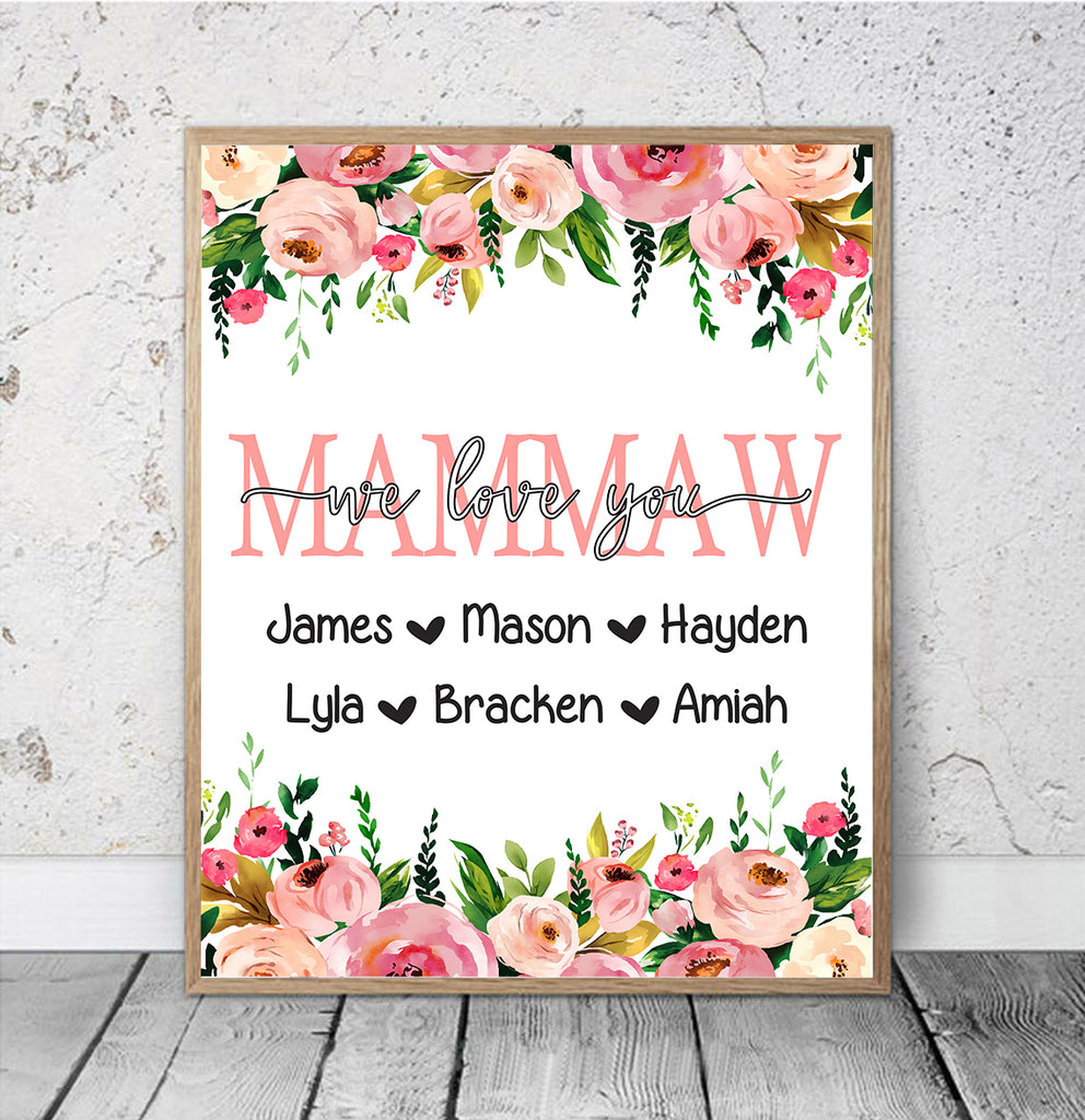 Personalized Nickname & Kids' Names Pink Floral Canvas Wall Art