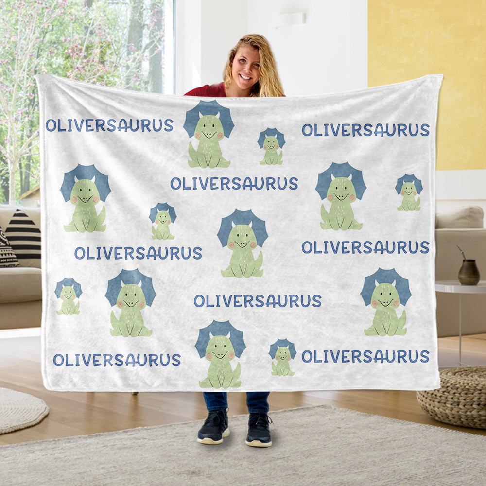 Custom Name Dinosaur Fleece Blankets - BUY 2 GET 10% OFF