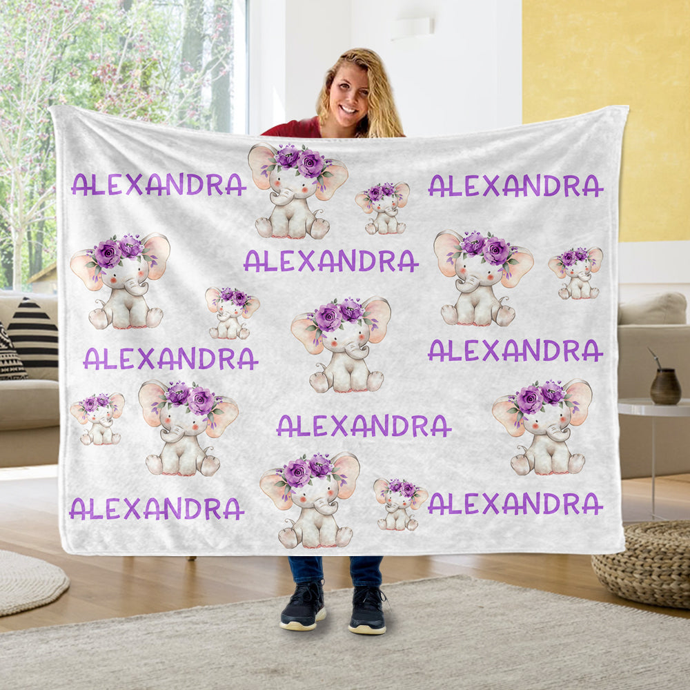 Custom Name Purple Floral Elephant Fleece Blankets - BUY 2 GET 10% OFF