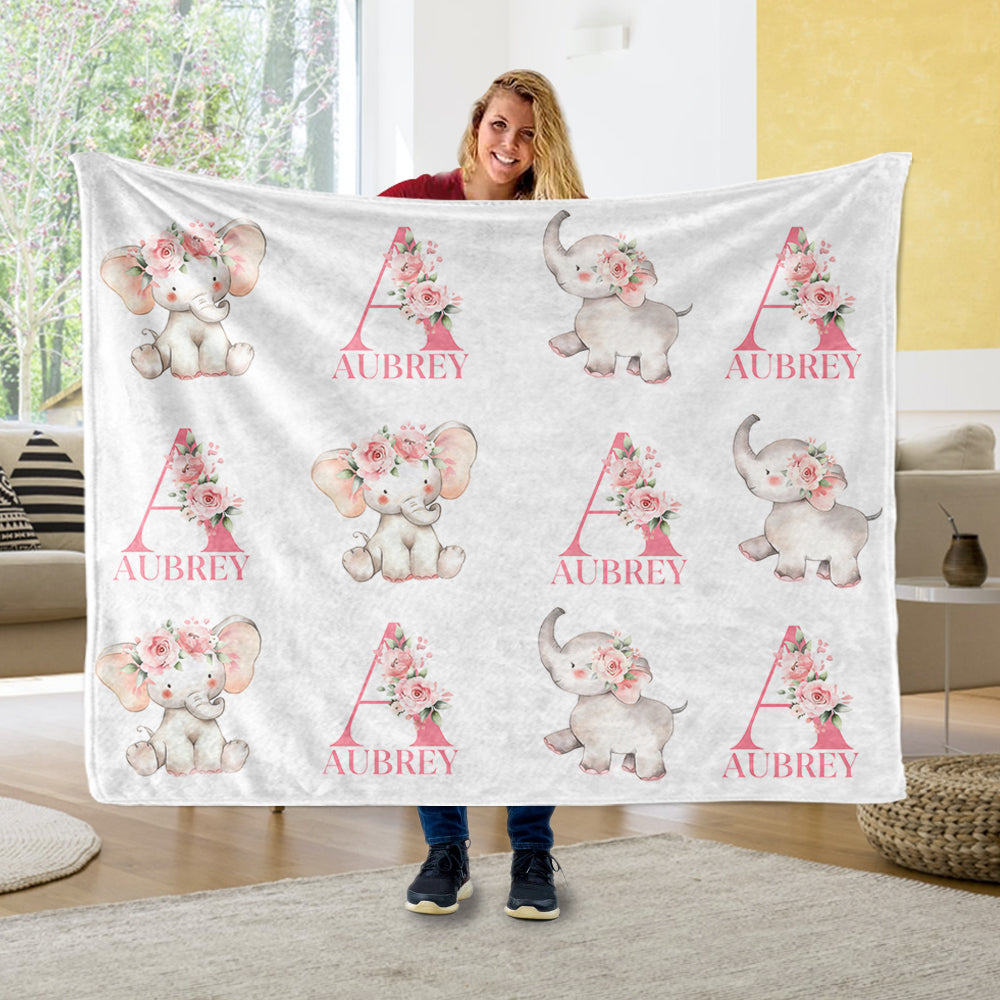 Customized Initial & Name Pink Floral Elephant Fleece Blankets - BUY 2 GET 10% OFF
