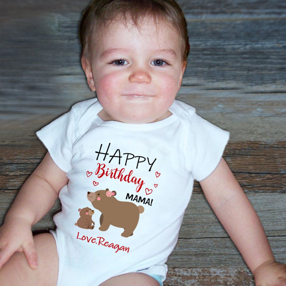 Custom Title Baby Name Infant Fine Jersey Bodysuit Mama Bear Baby Cub