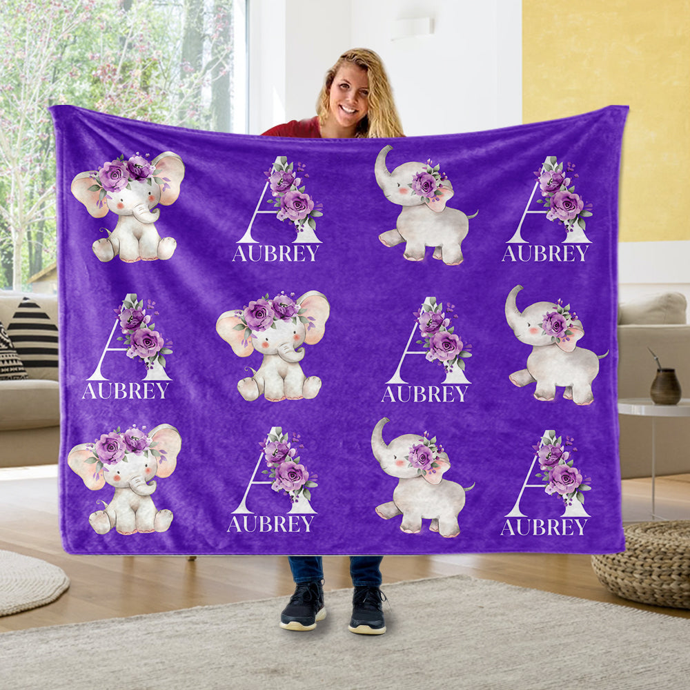 Customized Name Cute Floral Elephant Blankets Purple - BUY 2 GET 10% OFF