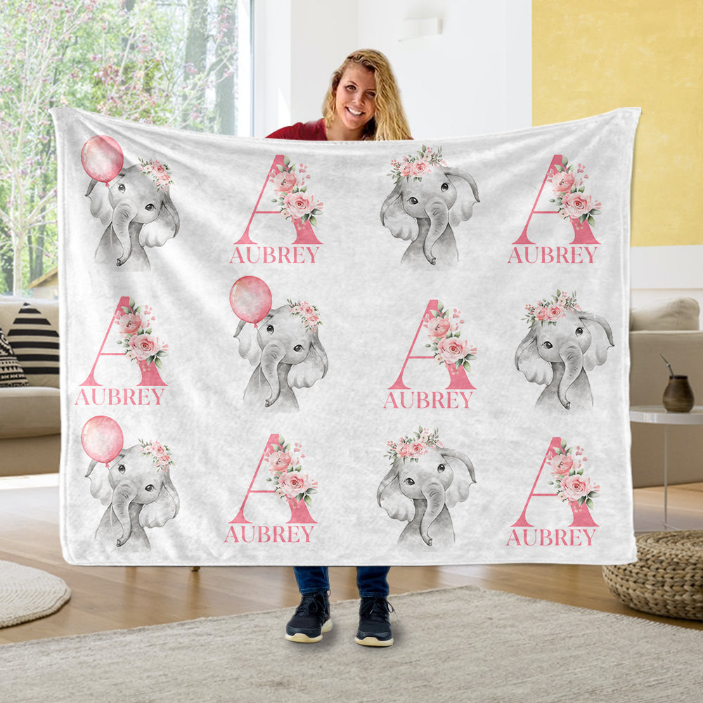 Personalized Initial & Name Pink Floral Elephant Fleece Blankets - BUY 2 GET 10% OFF