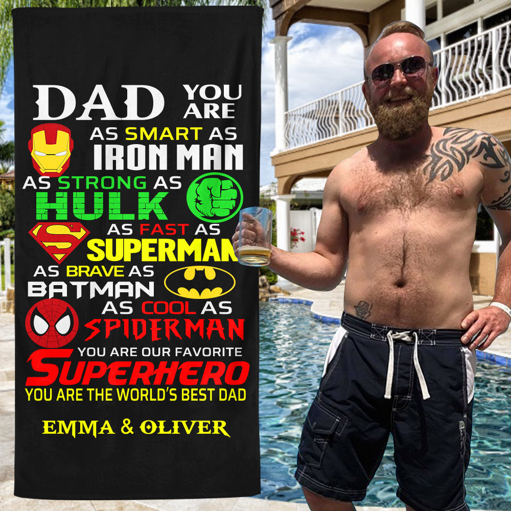 Custom Father's Day Beach Towel with Nickname & Kids' Names I