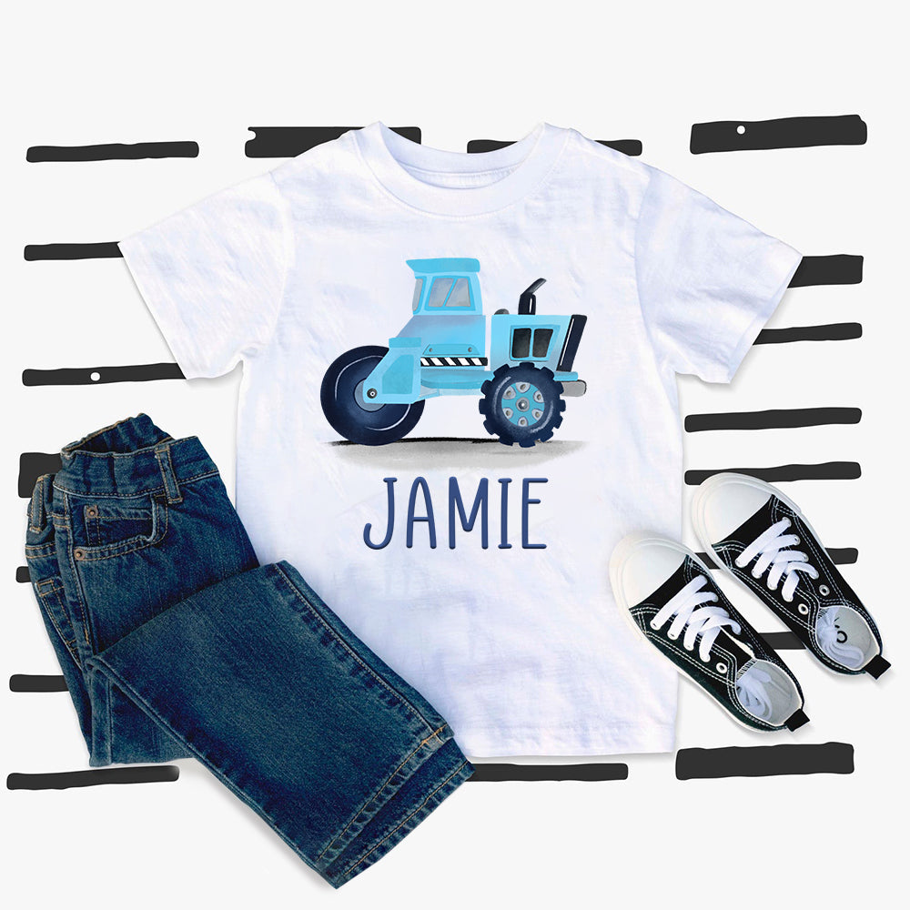 Custom Name Construction Truck Kids Heavy Cotton Tee VIII