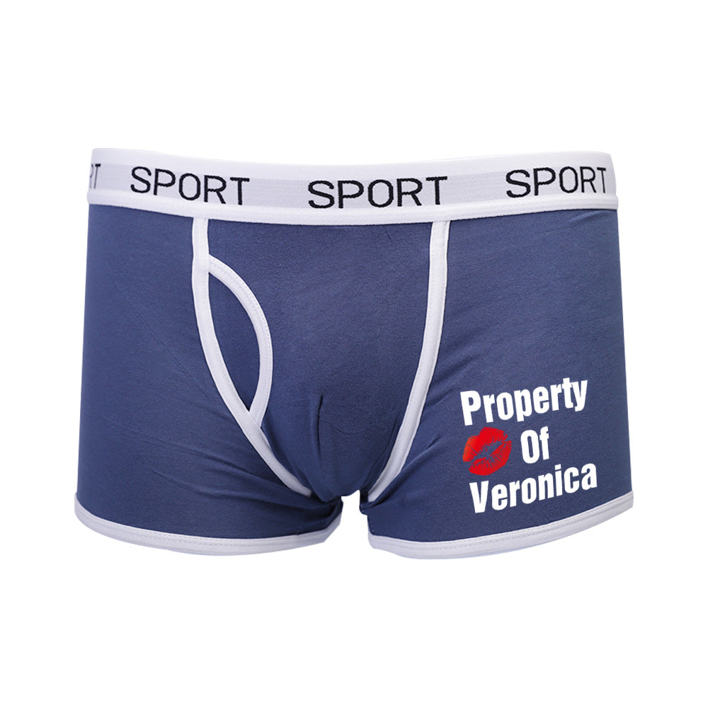 Property of Name Boxer Brief Personalized Funny Underwear for Men