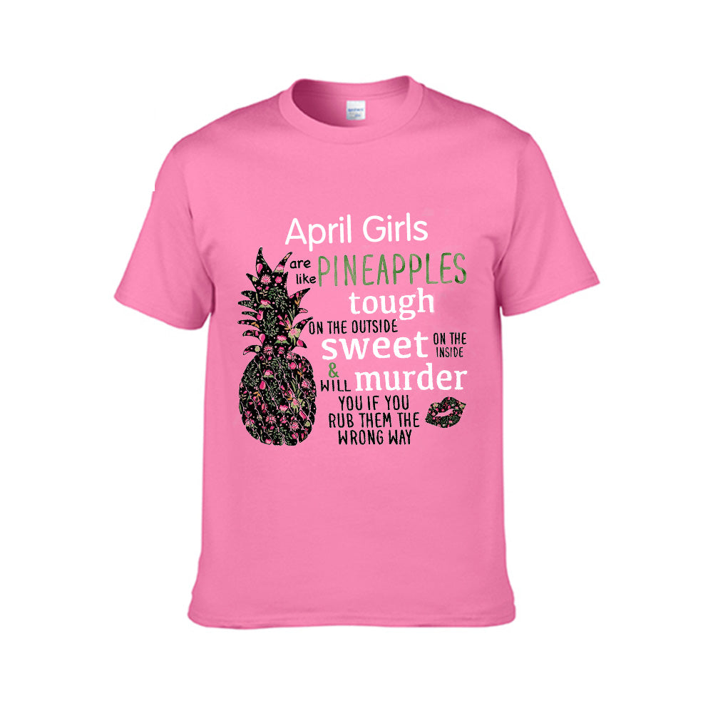 Personalized birth month Pineapples Tee for Girls -Unisex