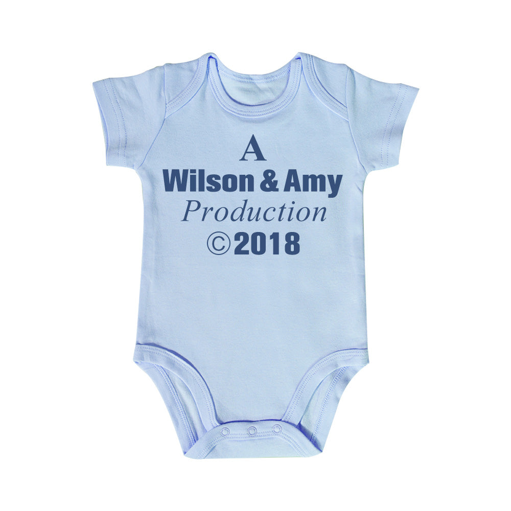 A Daddy & Mommy Production Custom Names and Year Baby Onesie - Short Sleeve