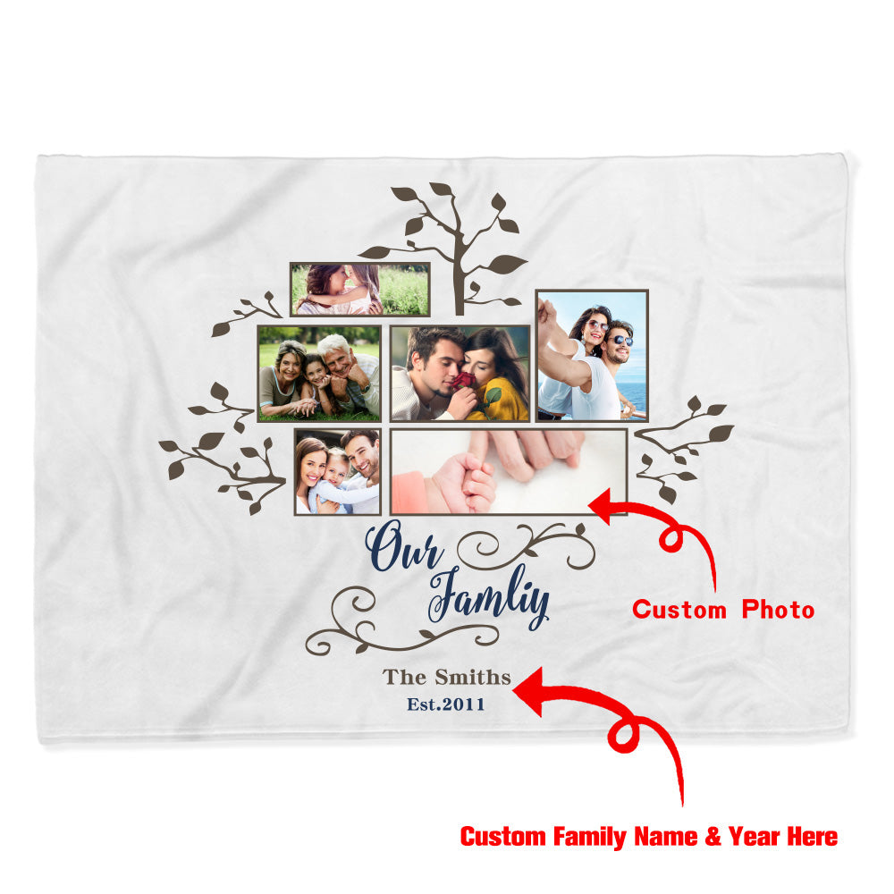 Personalized Family Tree Photo Fleece Blanket