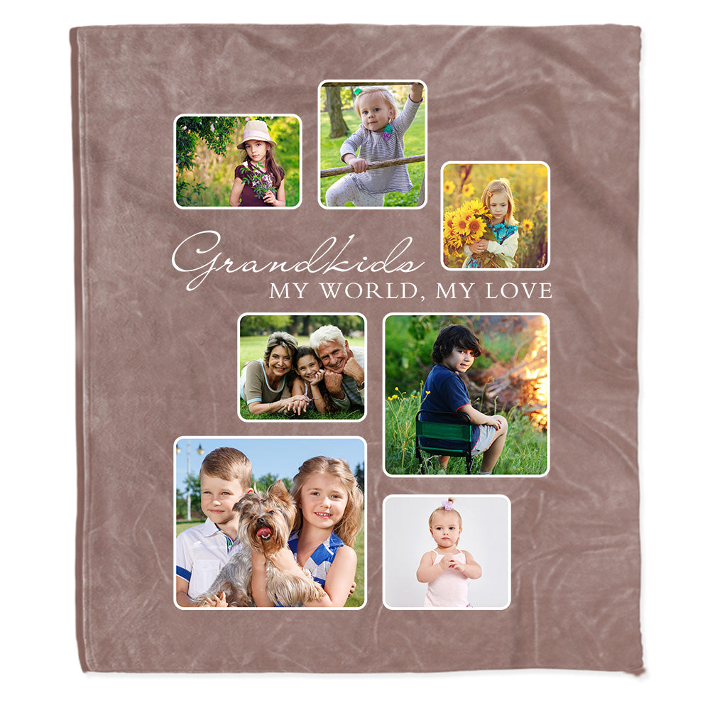 Personalized My World My Love Photo Fleece Blanket