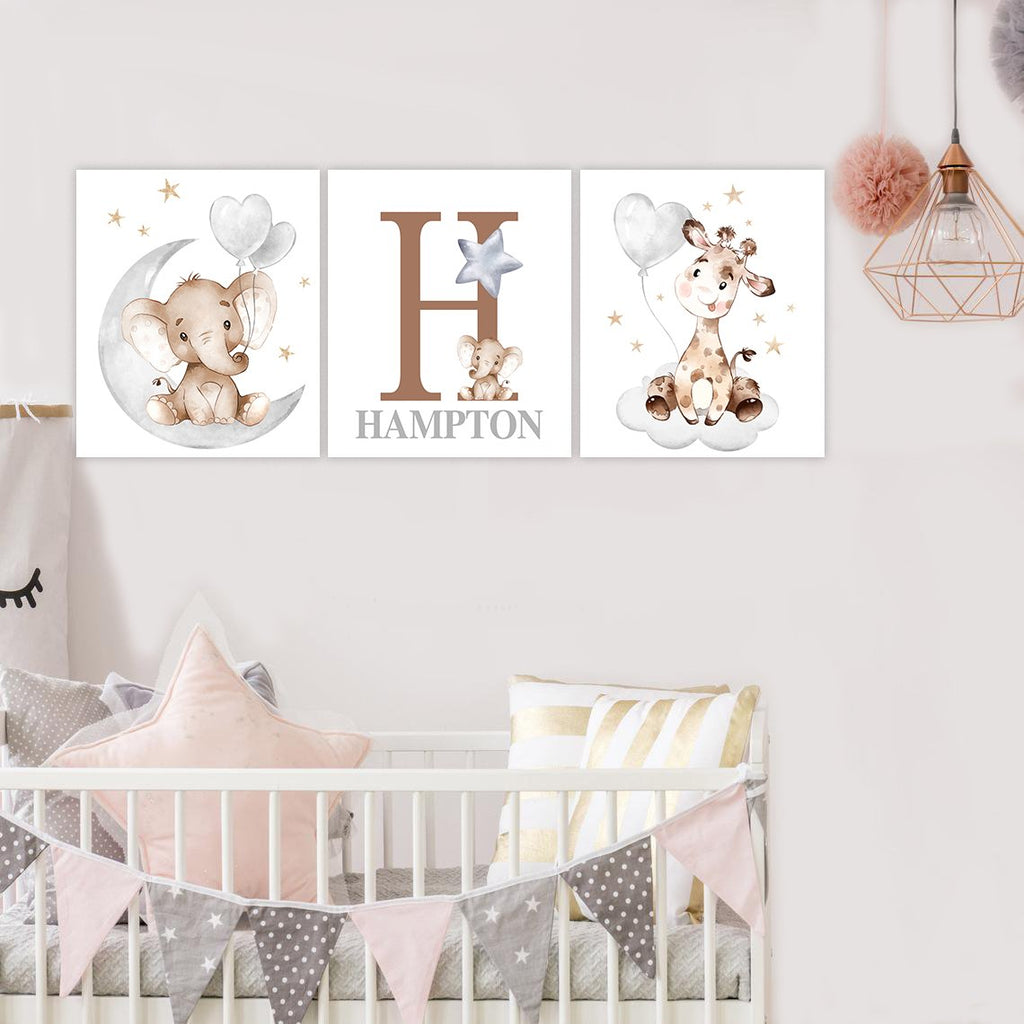 Custom Initial & Name Elephant & Giraffe Canvas Wall Art - BUY 2 GET 10% OFF