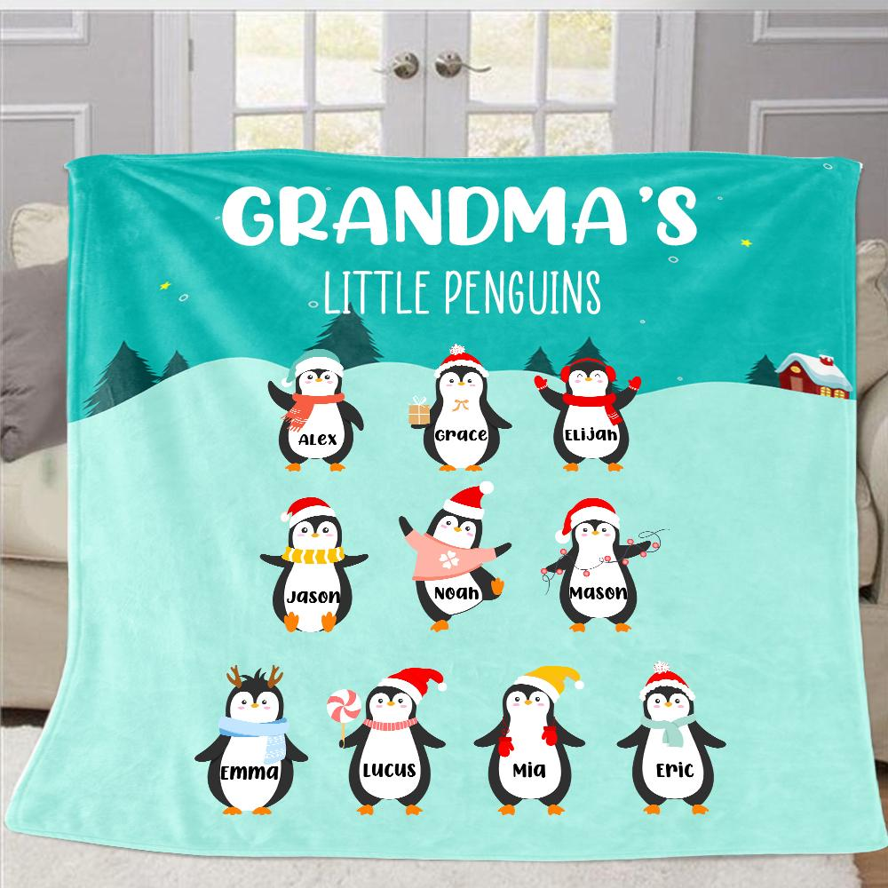 Personalized Penguins Christmas Blanket with Children's Names