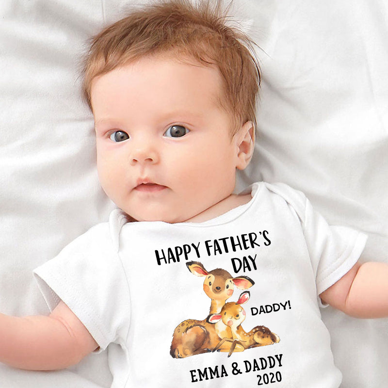 Custom Deer Father's Day Fleece Blankets / Baby Onesies / Daddy Shirts