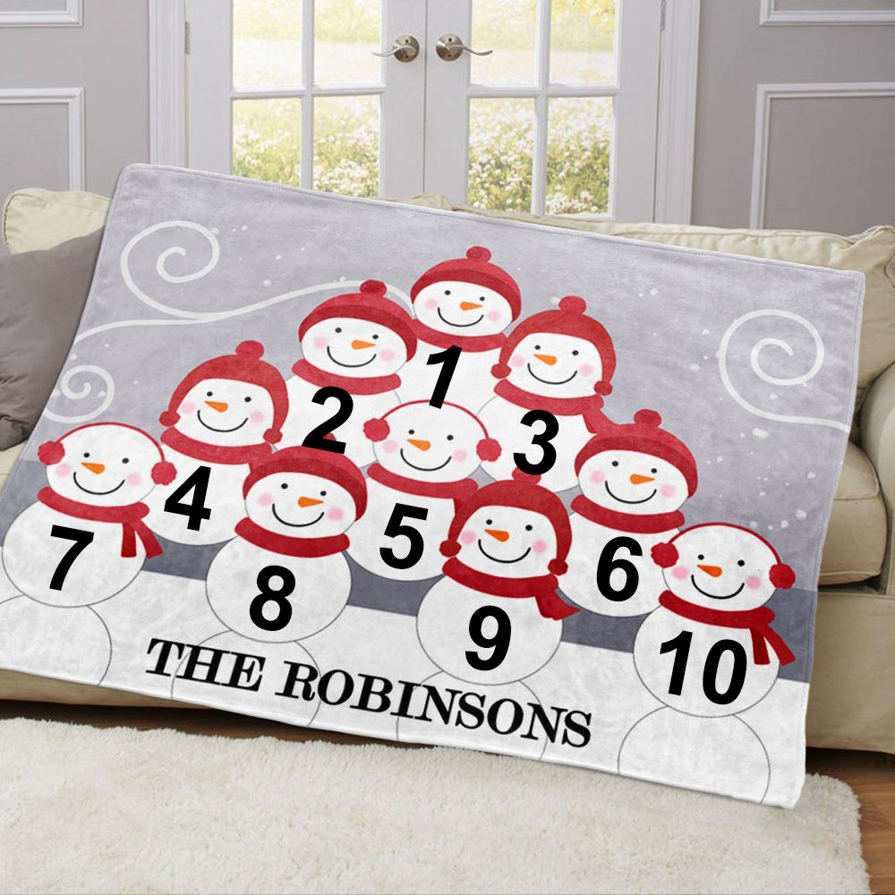 Personalized Snowman Family Blanket With Names