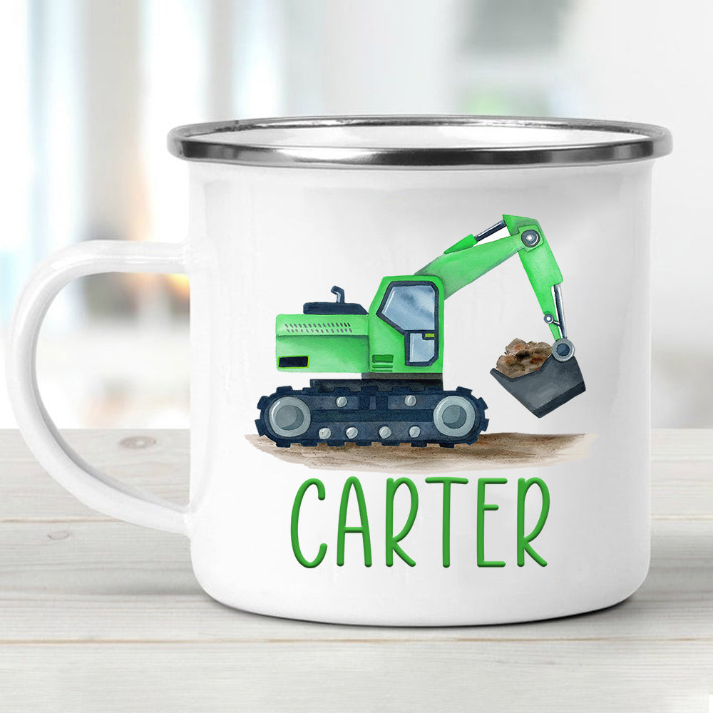 Custom Name Truck Children's Enamel Campfire Mug IV