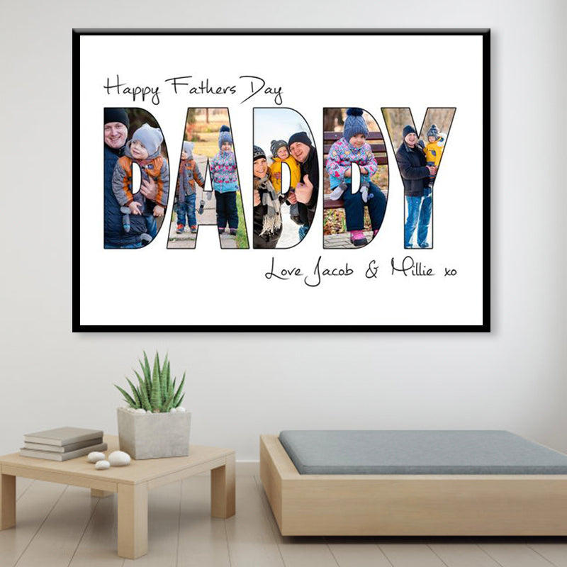 Personalized Father's Day Photo Print-Daddy Collage Wall Art