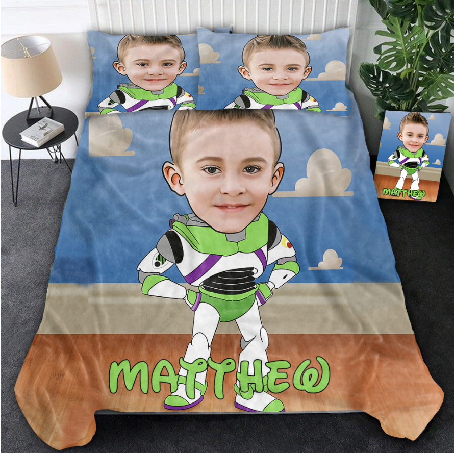 Personalized Hand-Drawing Kid's Photo Portrait Cozy Microfiber Bedding Set XII