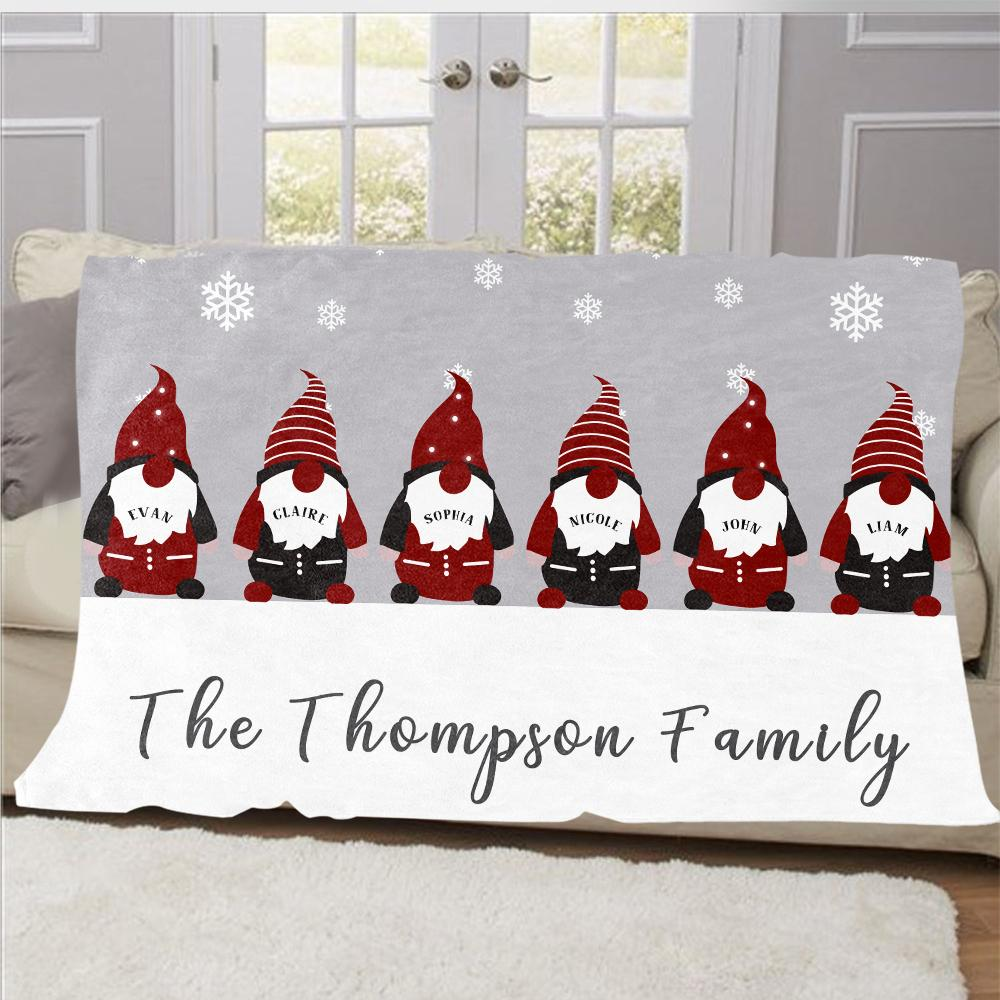 Personalized Christmas Gnomes Family Member's Name Fleece Blanket I