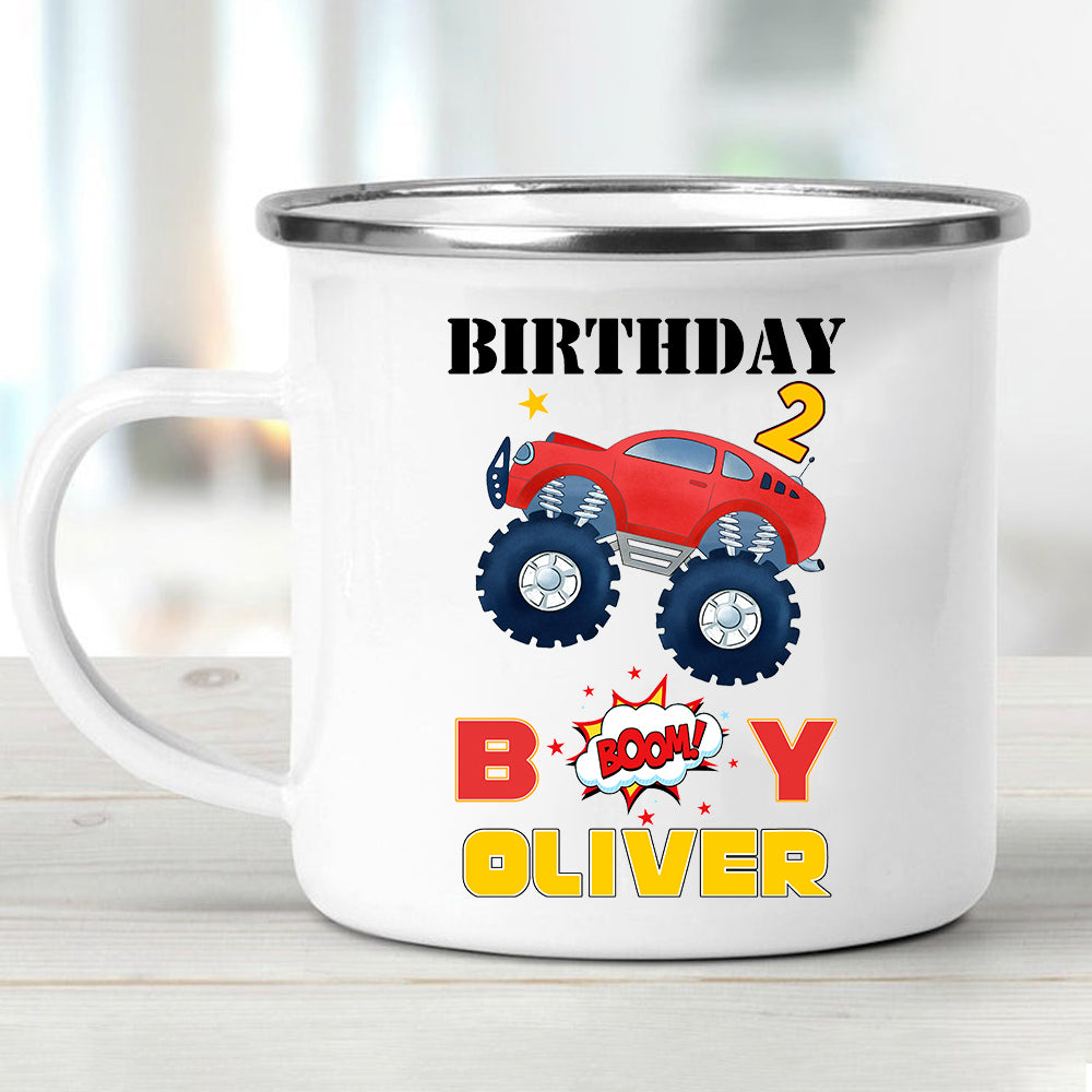Custom Name Monster Truck Children's Birthday Enamel Campfire Mug II