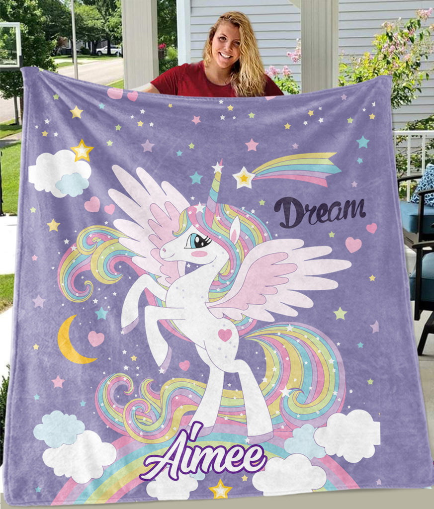 Custom Name Magical Unicorn Cozy Plush Fleece Blanket VII