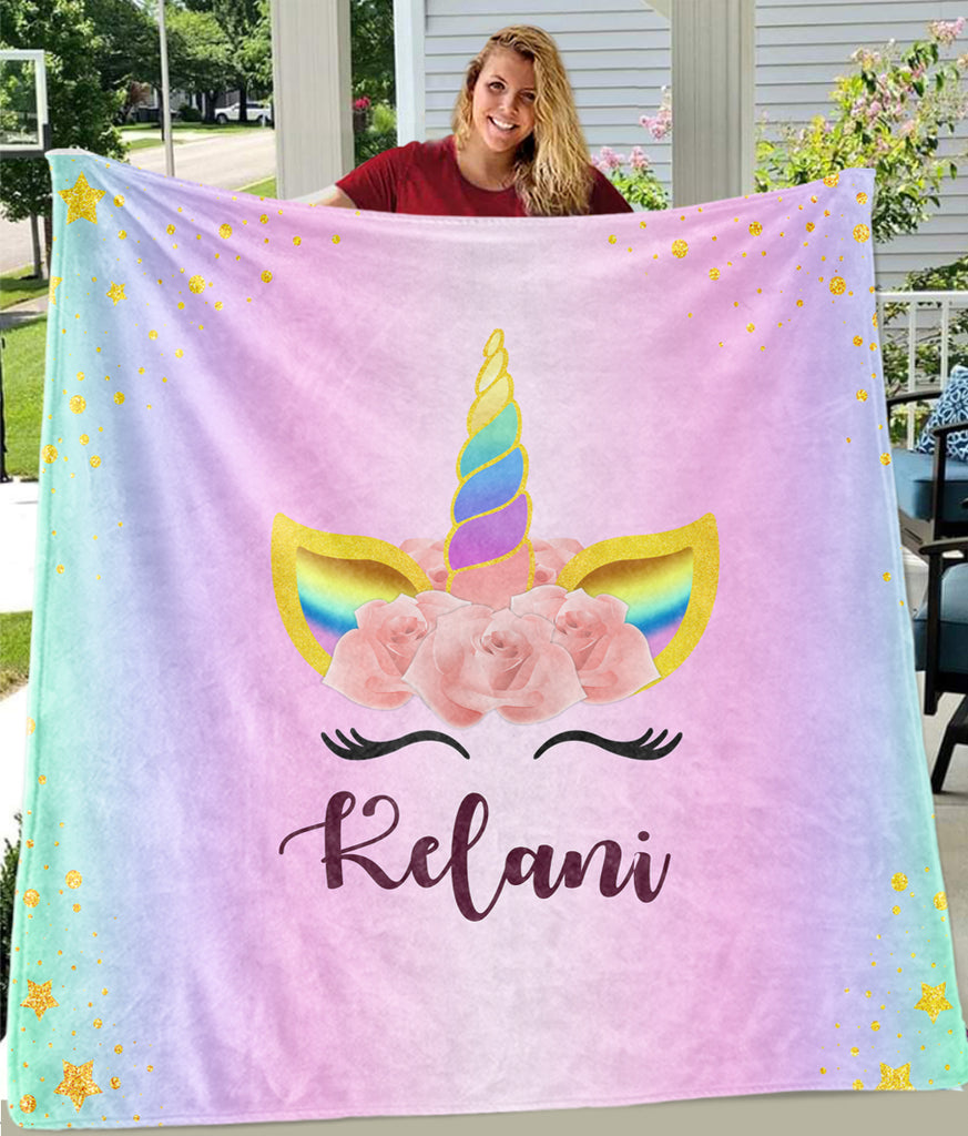Custom Name Magical Unicorn Cozy Plush Fleece Blanket VI