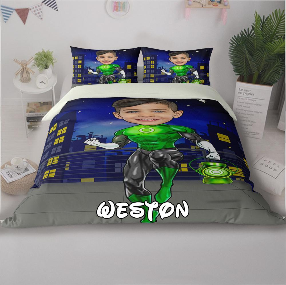 Personalized Hand-Drawing Kid's Photo Portrait Cozy Microfiber Bedding Set XV