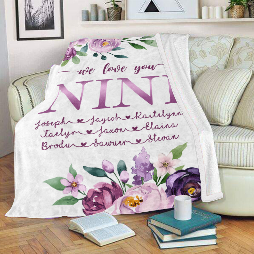 Custom Purple Floral Cozy Plush Fleece Blankets with Your Nick & Kids' Names - BUY 2 SAVE 10%