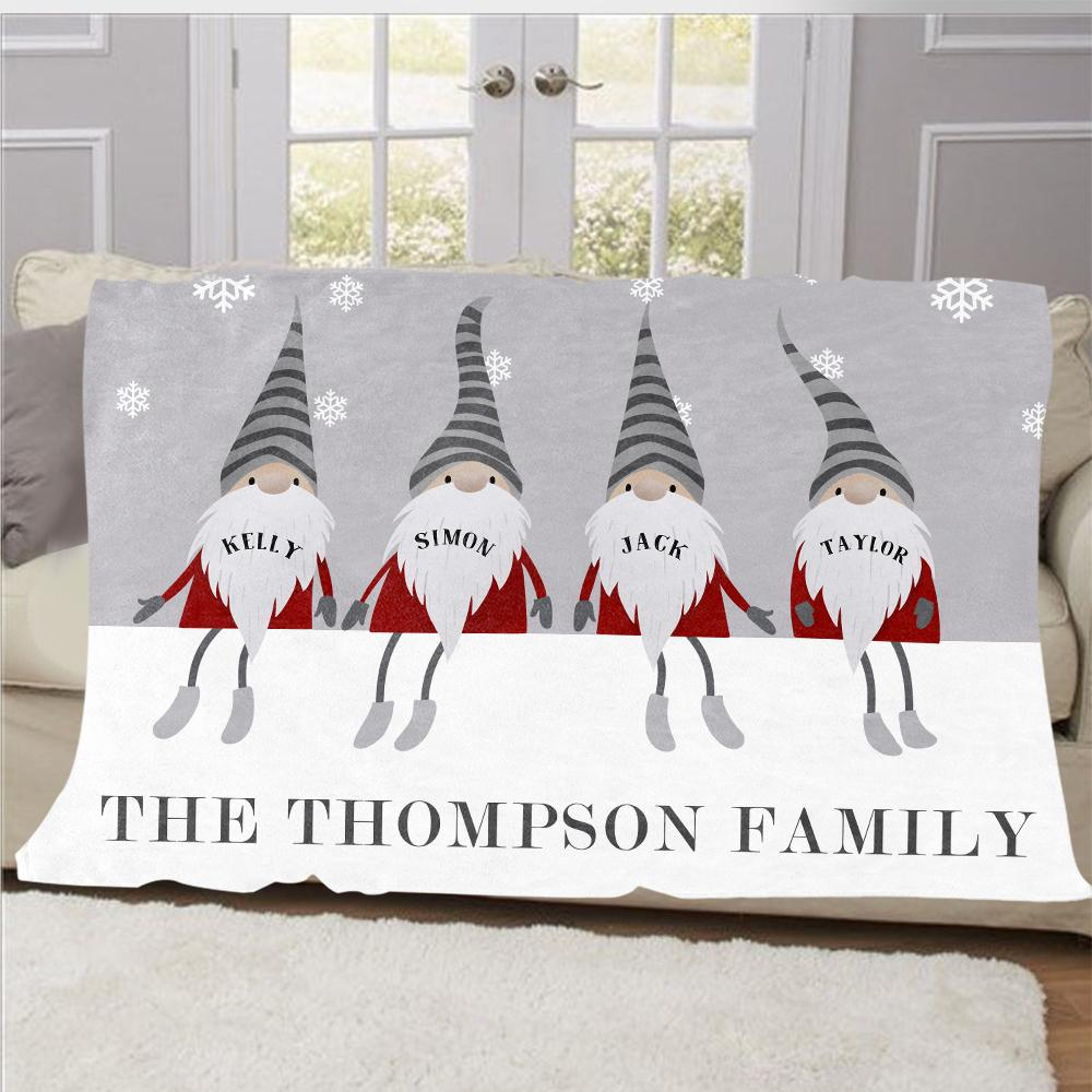 Personalized Christmas Gnomes Family Member's Name Fleece Blanket III