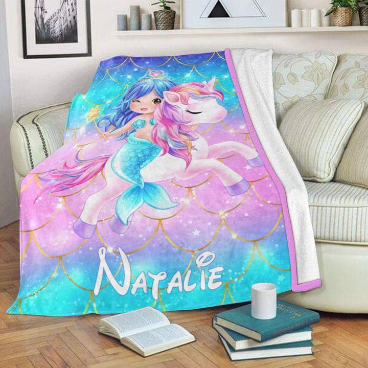 Custom Name Unicorn Velveteen Plush Blanket X - Made in USA