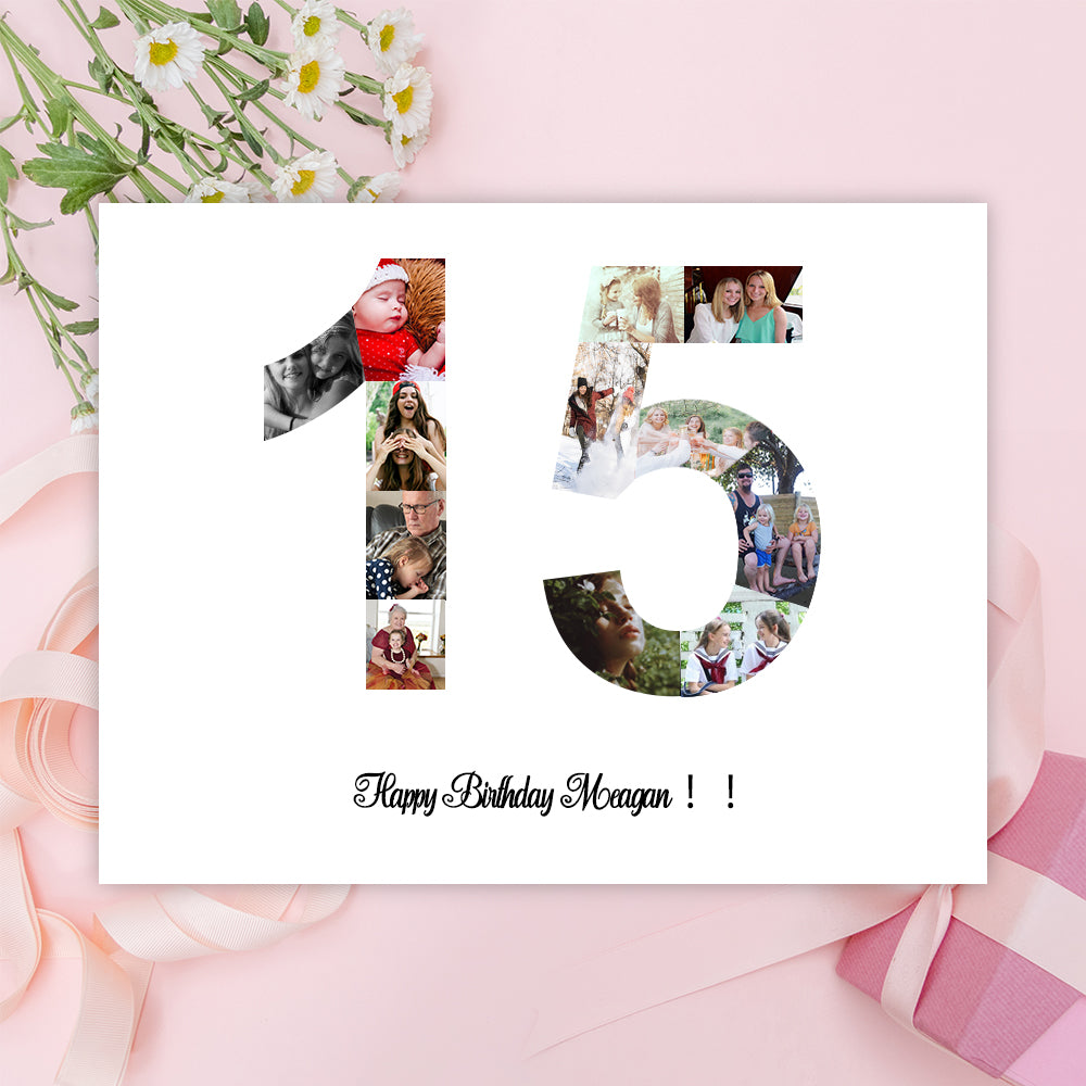 0-99th Canvas Print Birthday Gift, Photo Collage, Quinceanera Birthday Gift, Anniversary Gift