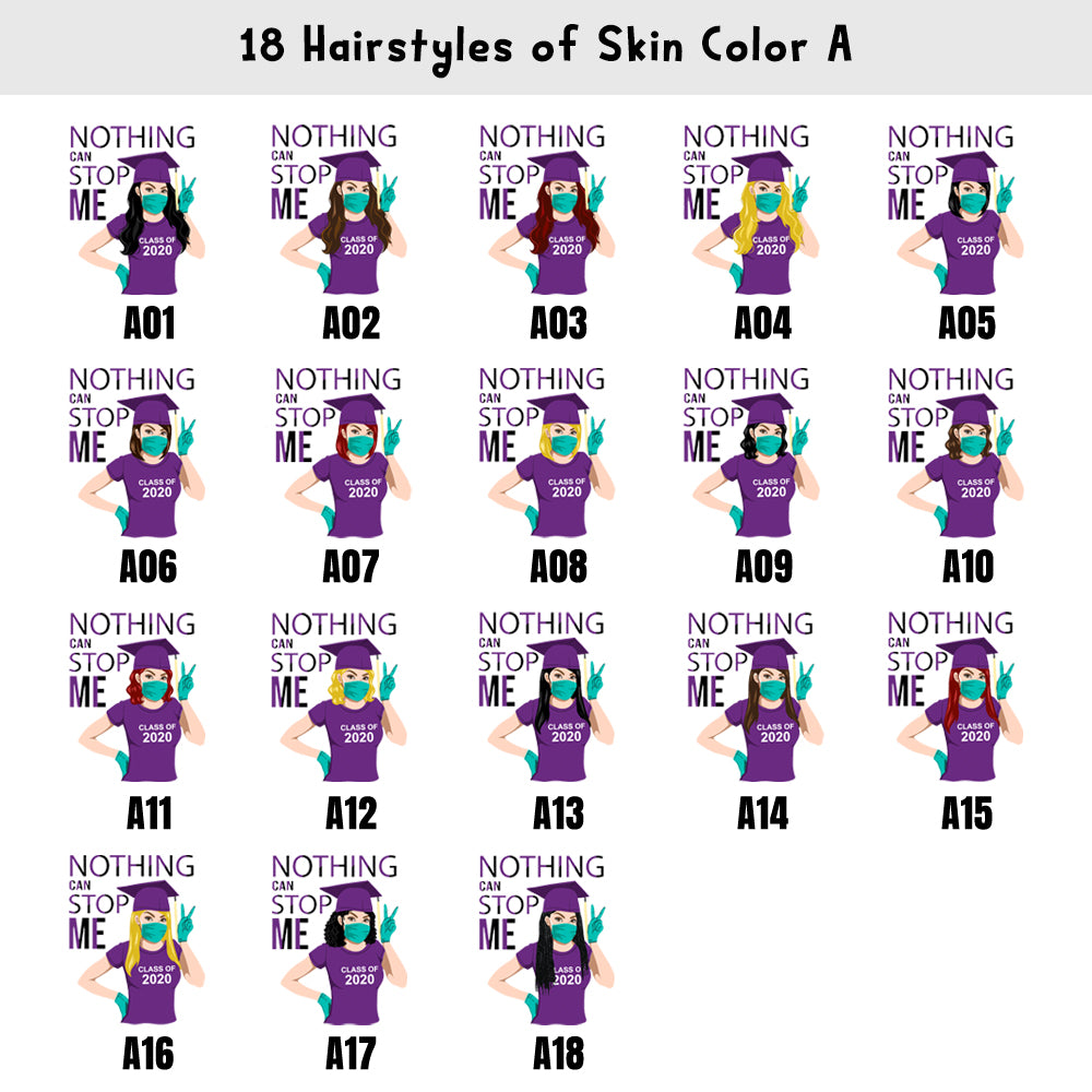 Custom Graduation Shirts 2020 - 3 Skin Colors & 18 Hairstyles Available!