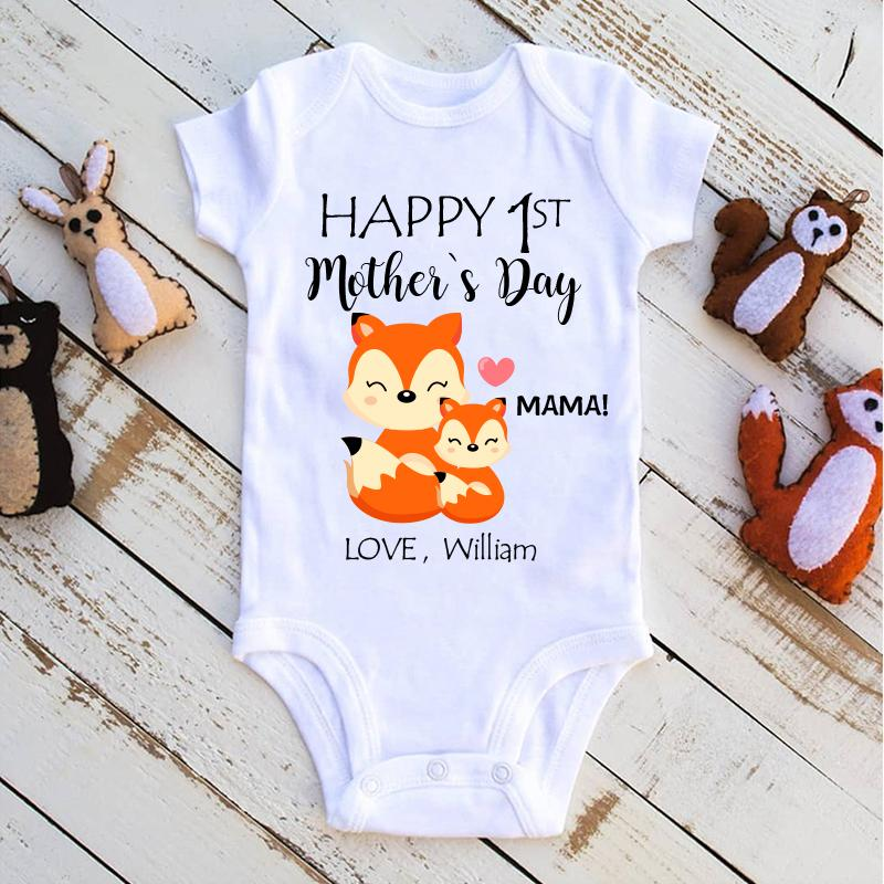 Personalized Fox Mother's Day Baby Onesies and Matching Mom Shirts