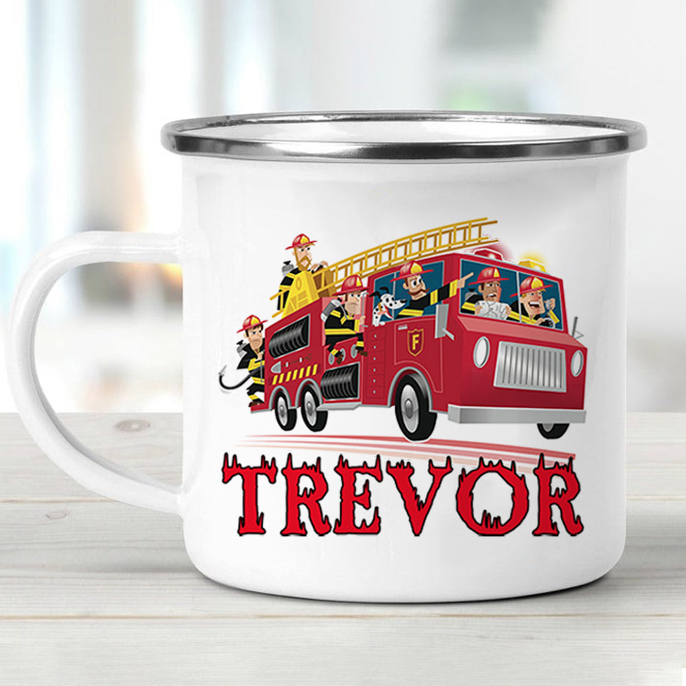 Custom Name Firefighter Children's Enamel Campfire Mug I