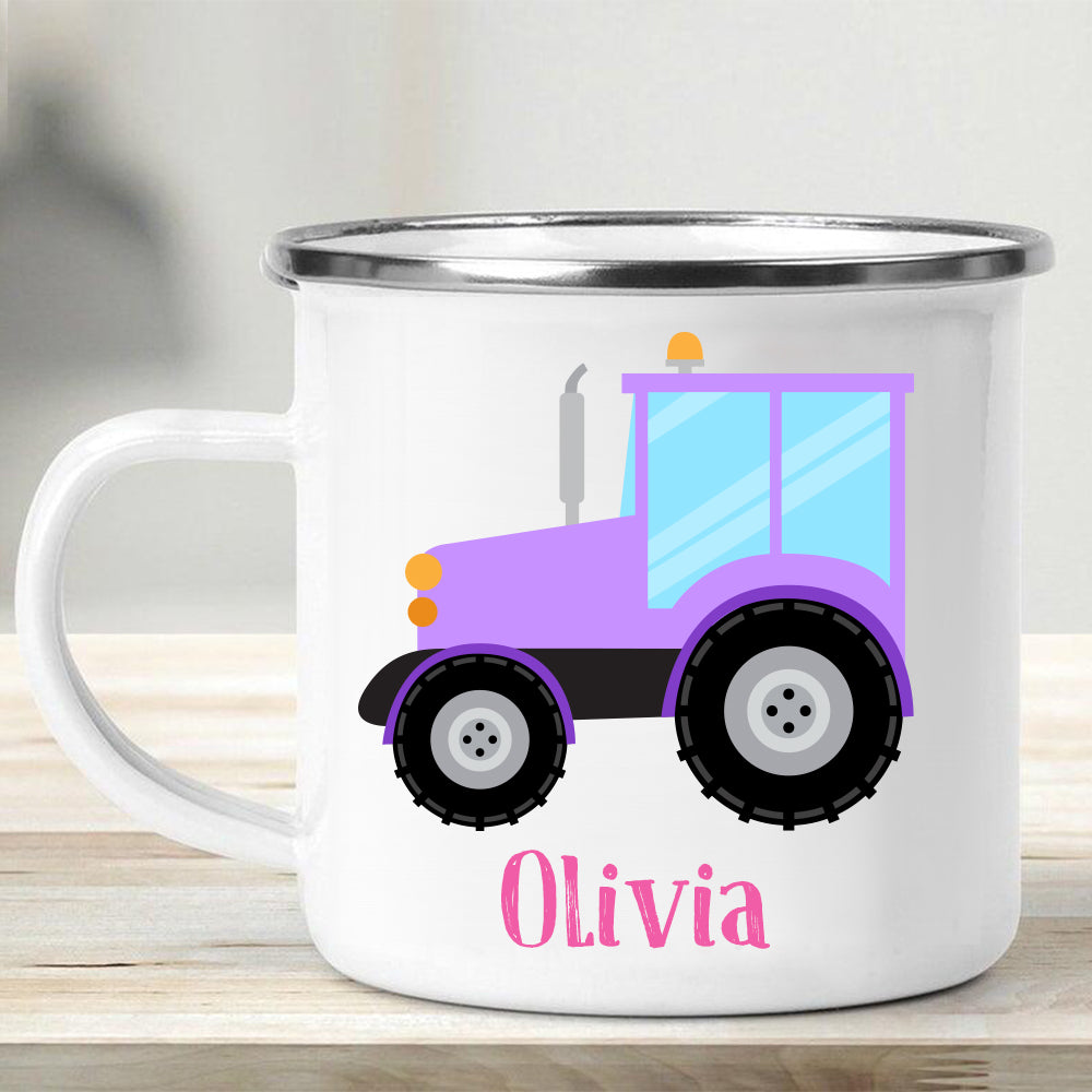 Custom Name Truck Children's Enamel Campfire Mug XI