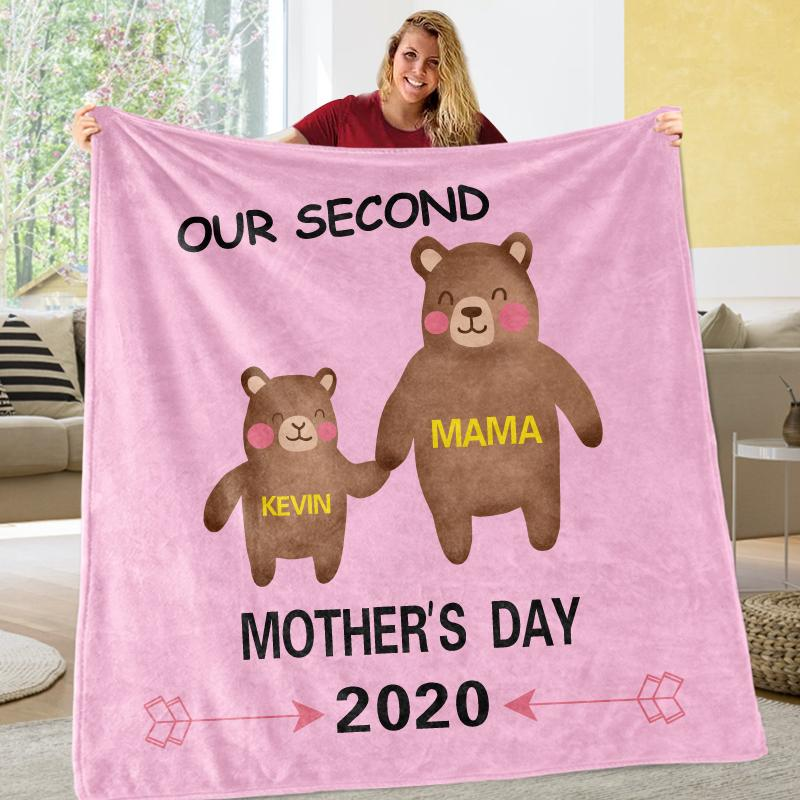 Personalized Bear Mother's Day Cozy Plush Fleece Blankets