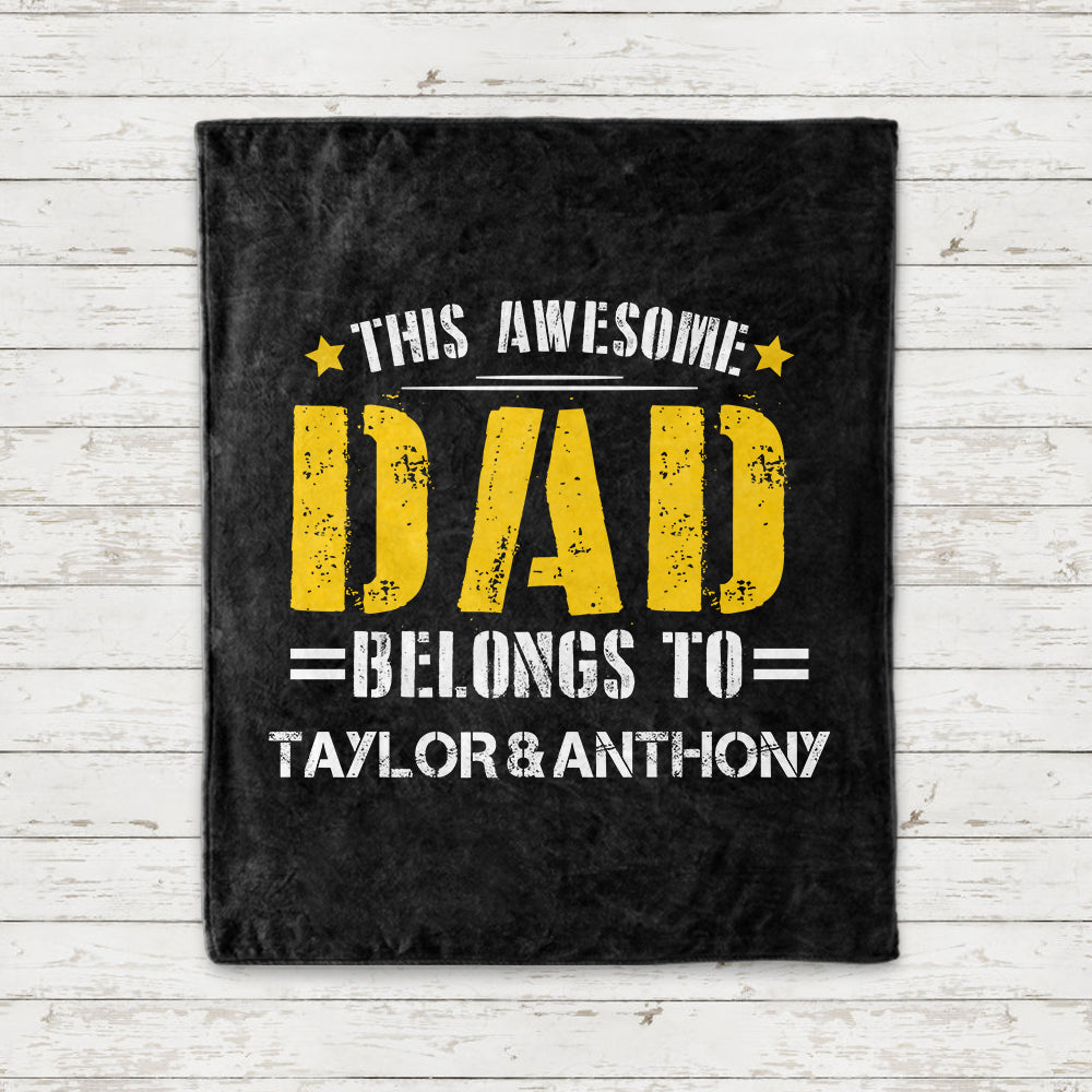 AWESOME DAD Custom Name Fleece Blankets - Perfect Birthday Holiday Gifts for Dad Uncle & Grandpa