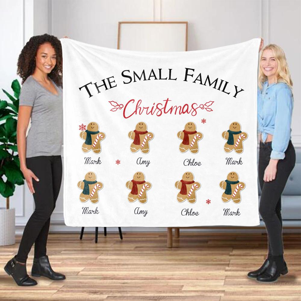 Personalized Gingerbread Christmas Family Member Fleece Blanket I