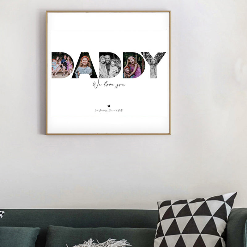 Personalized Daddy Photo Canvas Wall Art - Gift for Father