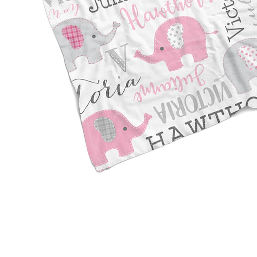 Personalized Pink & Gray Elephant Name Pattern Baby Blanket-BUY 2 SAVE 10%
