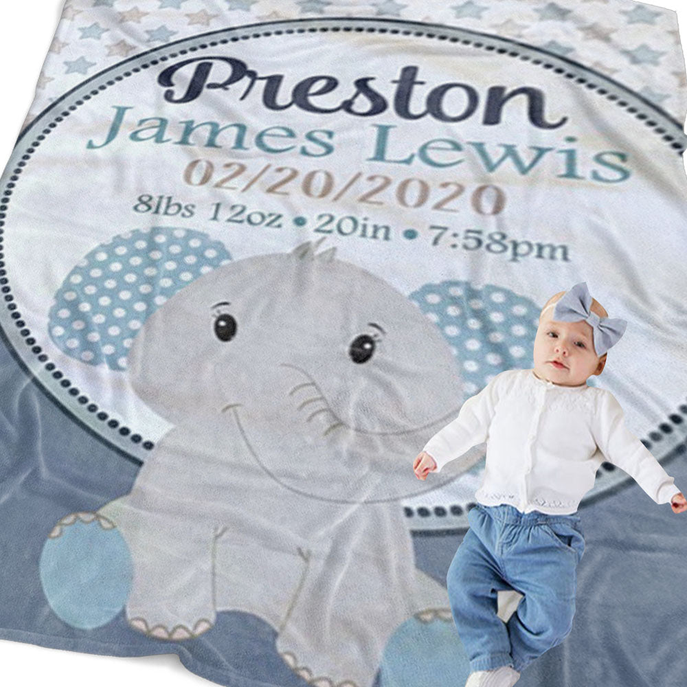 Personalized Elephant Newborn Baby Name Blanket, Custom Blue Elephant Baby Gift - Made in USA