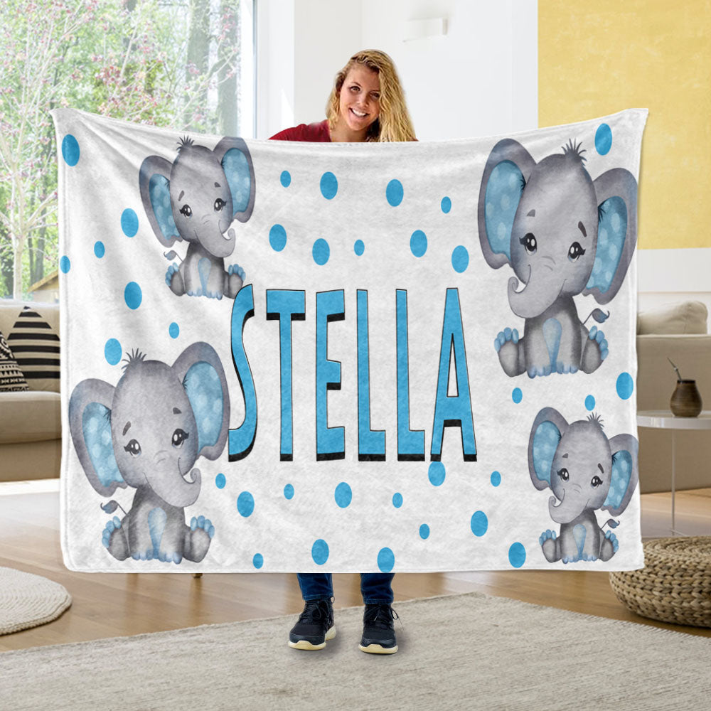 Personalized Kids Boy Elephant Fleece Blanket, Custom Kids Name Fleece Blanket-BUY 2 SAVE 10%