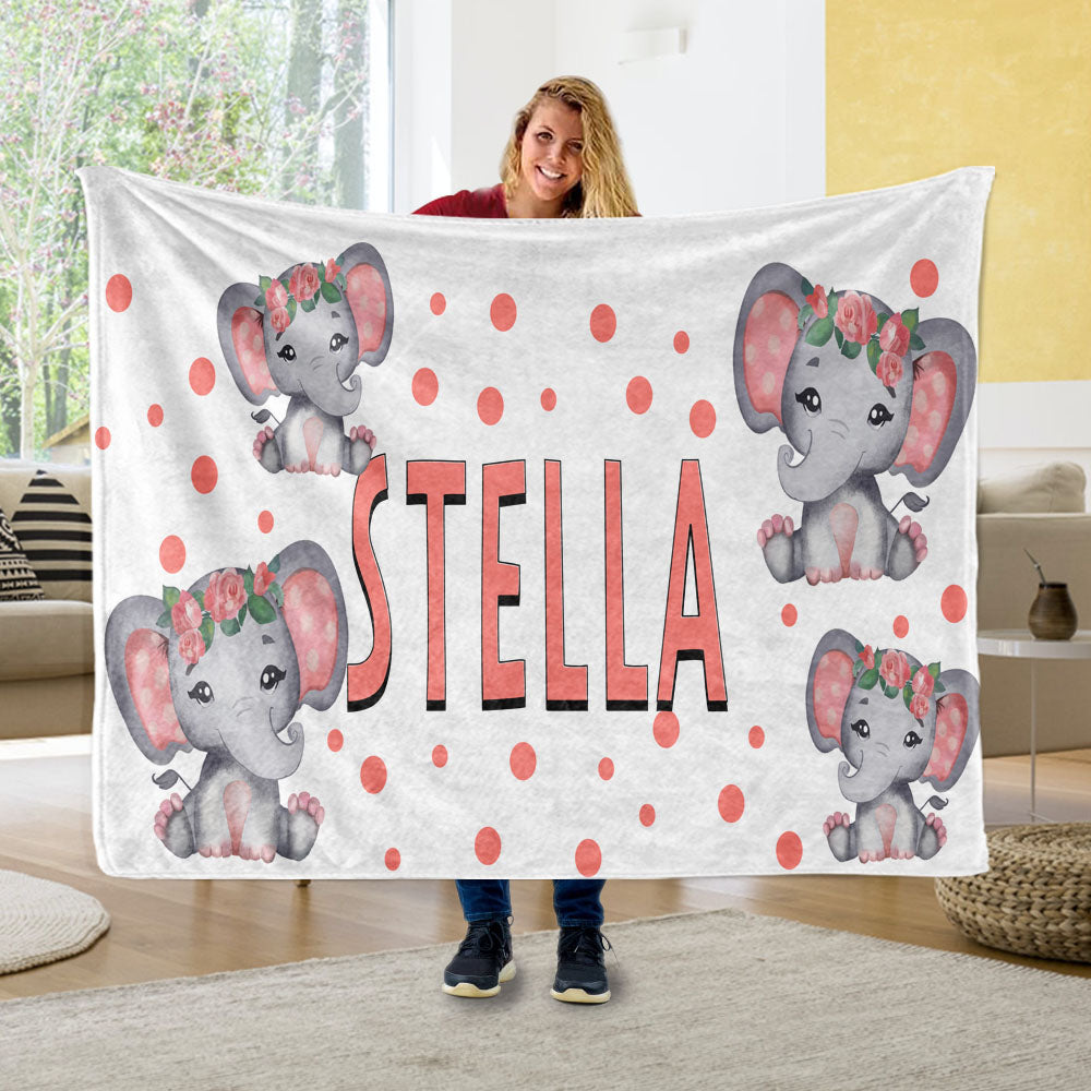 Personalized Kids Girl Elephant Fleece Blanket, Custom Kids Name Fleece Blanket-BUY 2 SAVE 10%