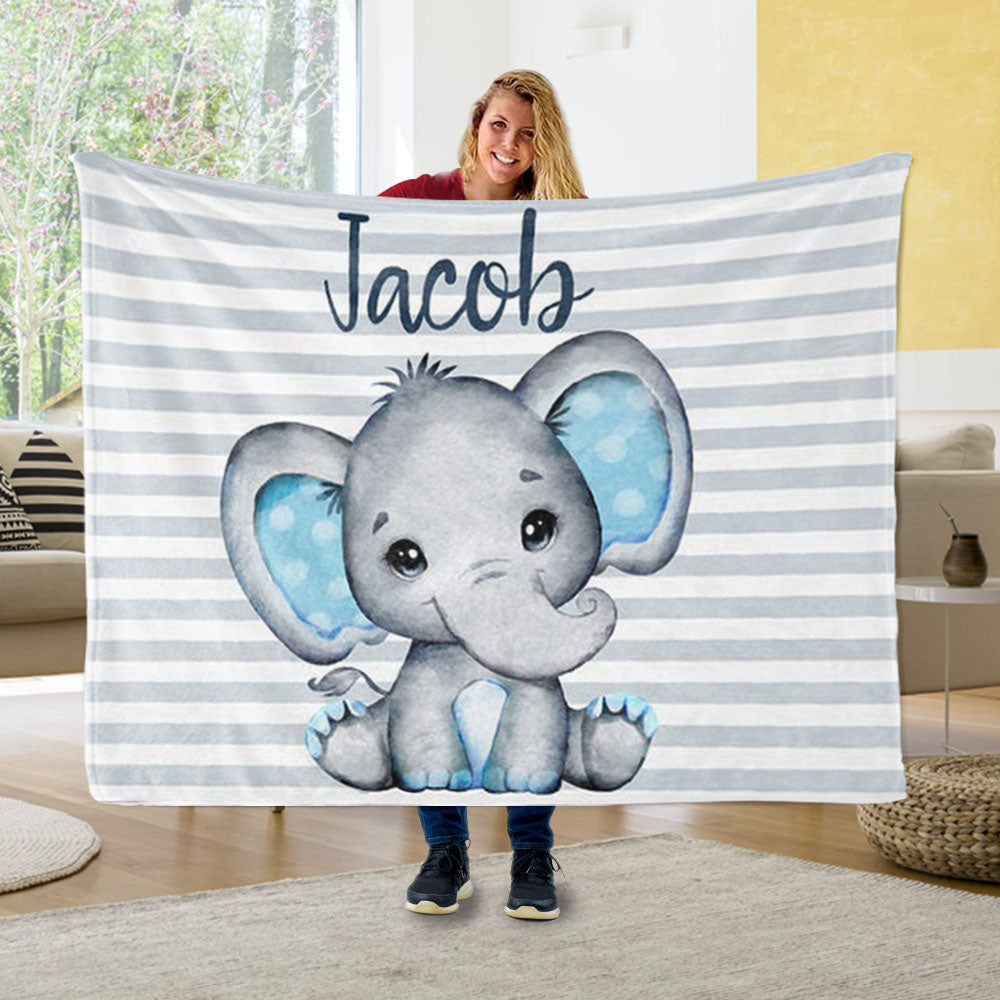 Personalized Elephant Boy Nursery Blanket, Custom Elephant Baby Bedding - Made in USA