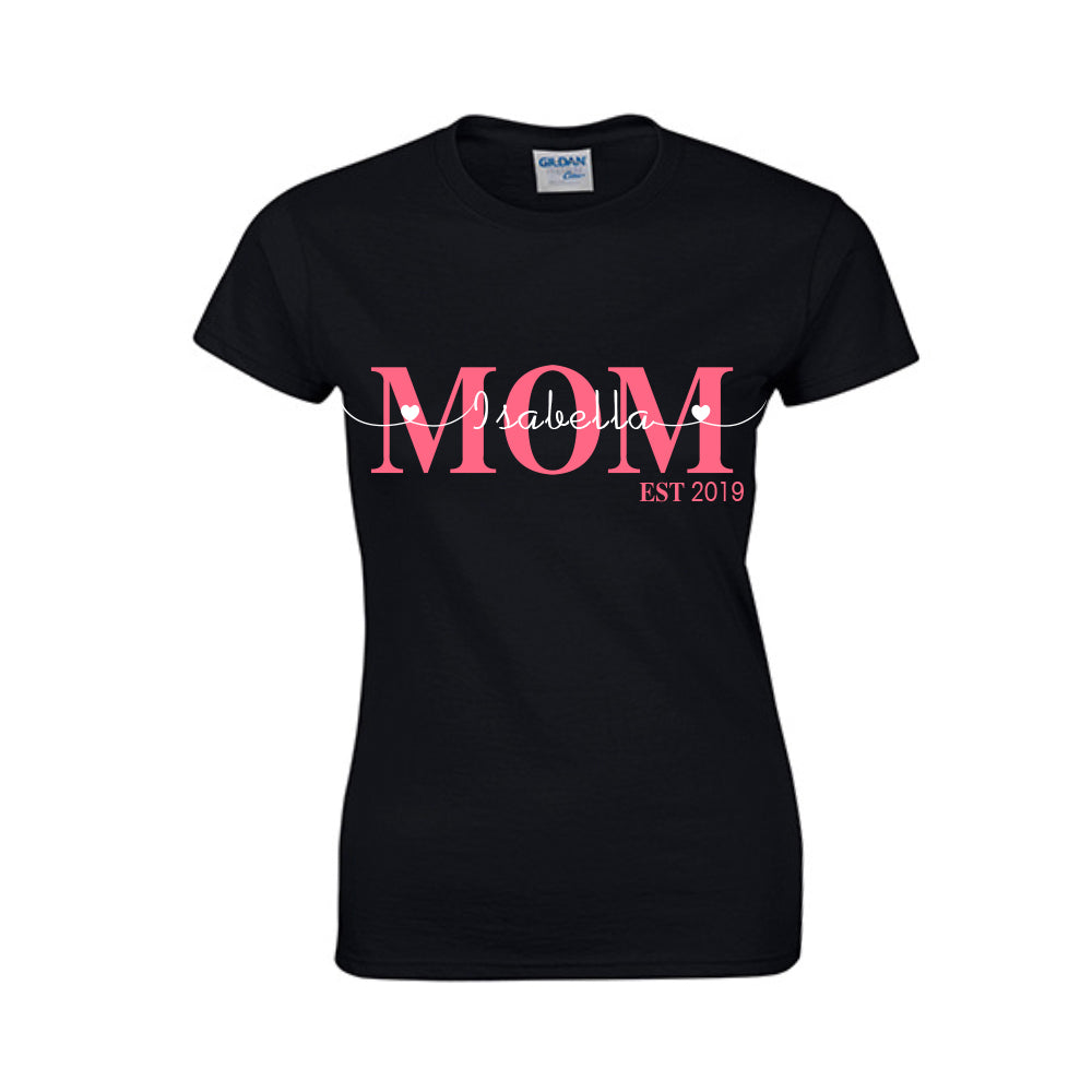 Color Font Family Member Personalized Kids Names - Ladies Tee