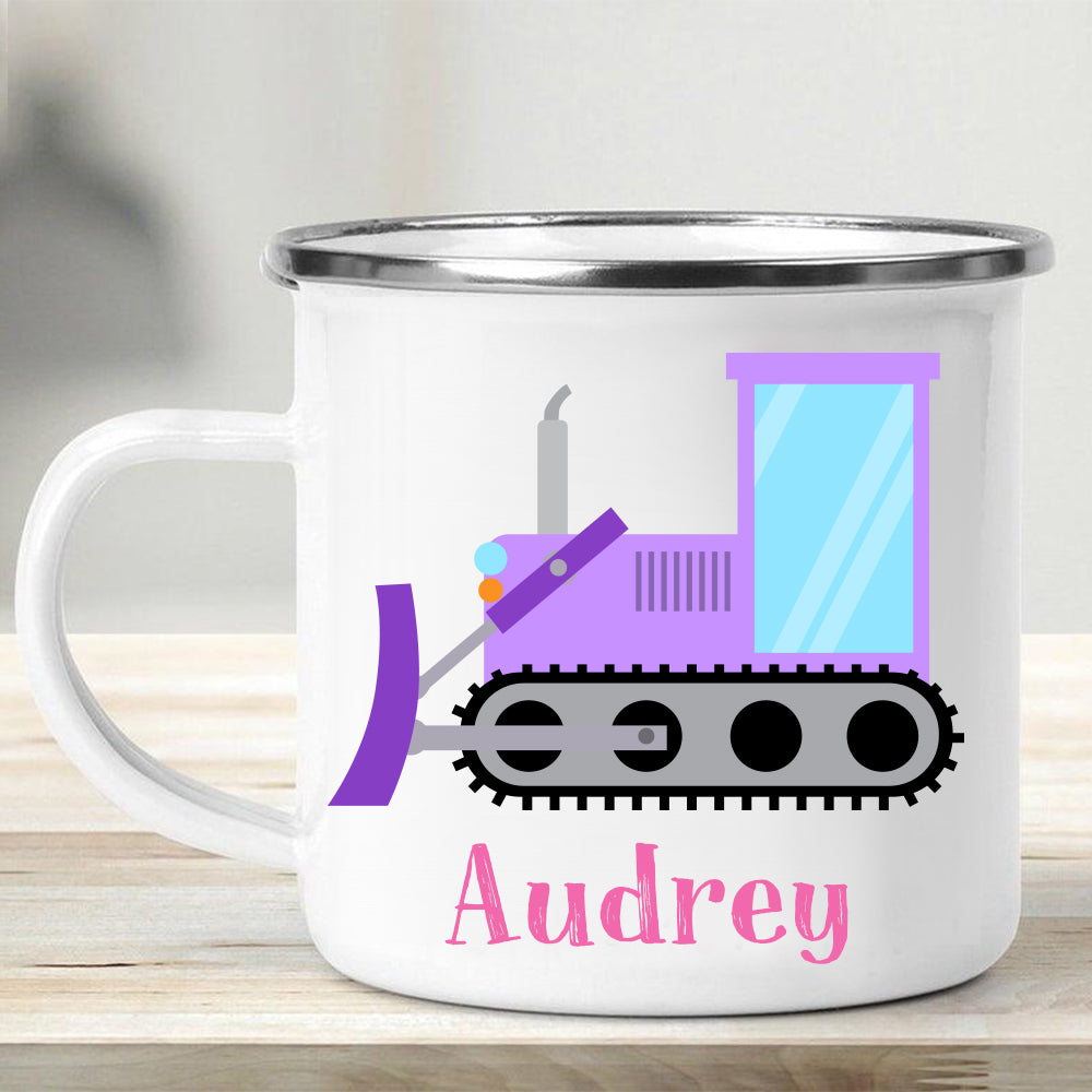 Custom Name Truck Children's Enamel Campfire Mug XIV