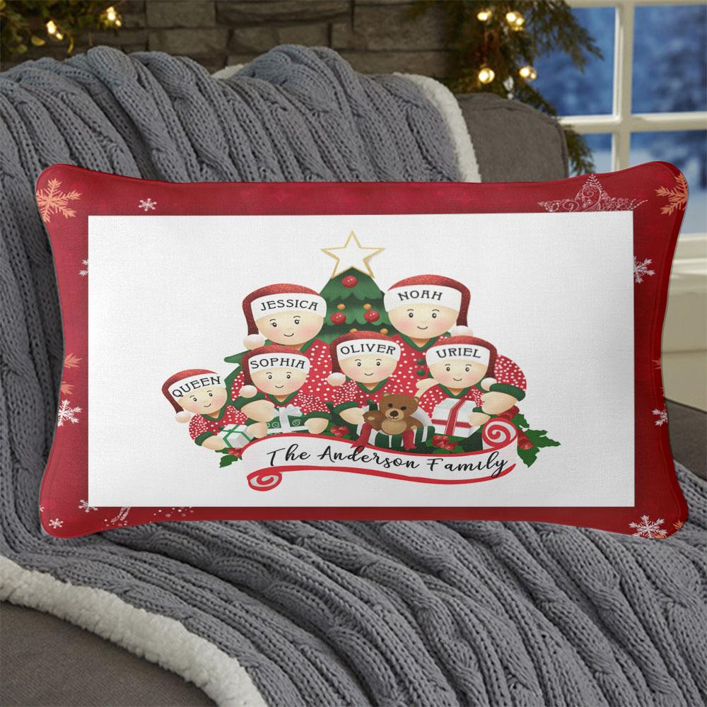 Personalized Christmas Snowman Family Pillowcase With Name I