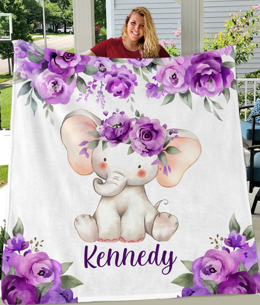 Custom Name Floral Elephant Blankets - BUY 2 SAVE 10%