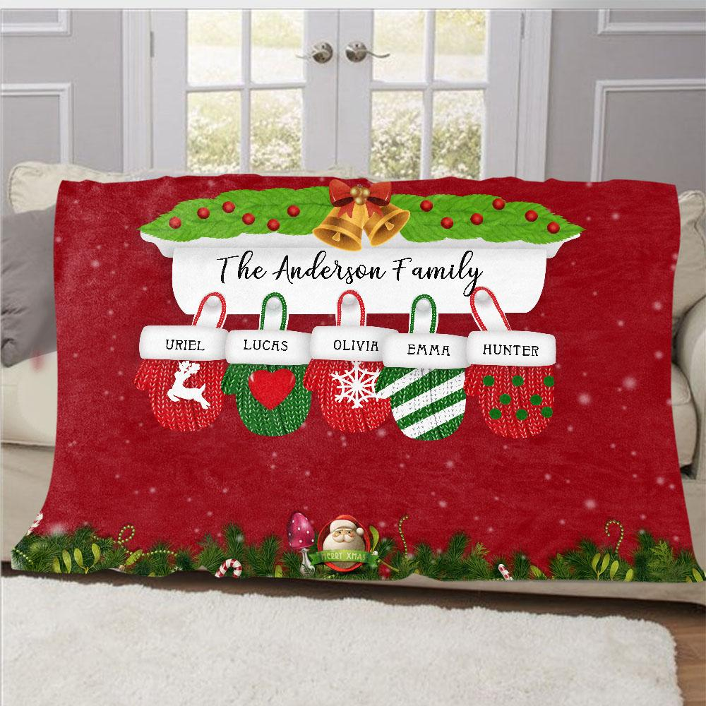 Personalized Christmas Gloves Family Member Fleece Blanket I