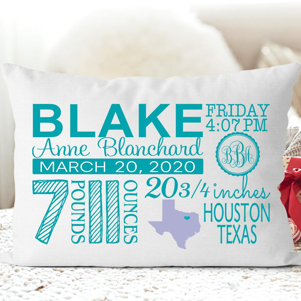 Personalized Birth Announcement Pillowcase for New Baby and Mom I