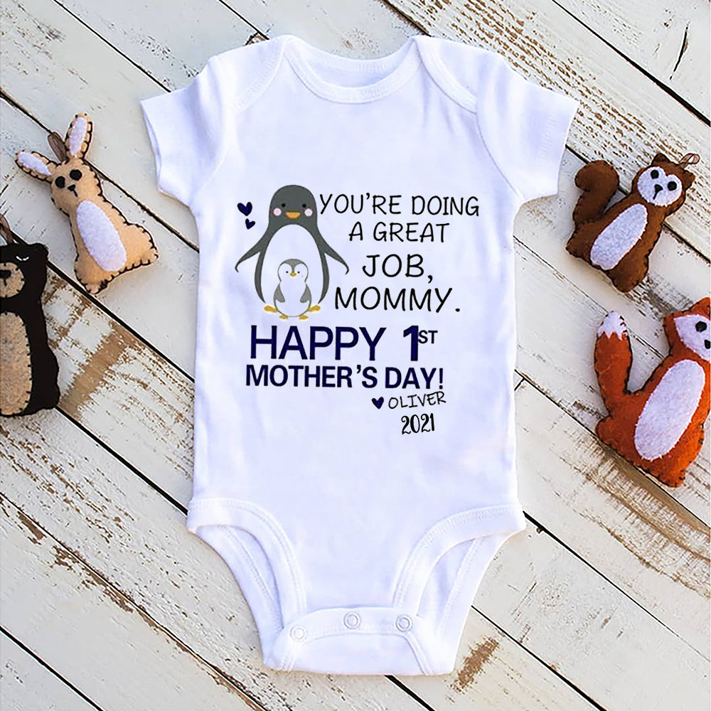 Personalized Penguin Mother's Day Baby Onesies and Matching Mom Shirts